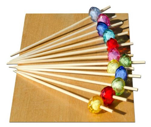 Multi coloured jewel bead skewer wood 9cm x 100 - GOTO